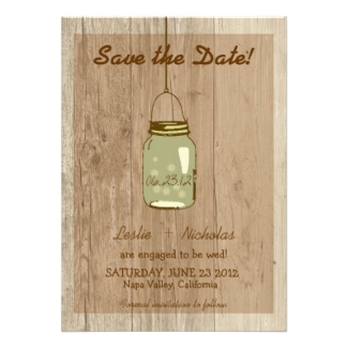 Country Wooden Rustic Mason Jar Save the Date Personalized Announcement