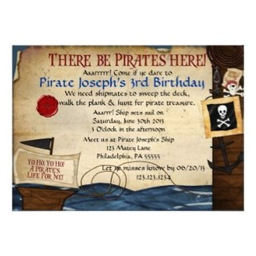Pirate Kids Birthday Party Invitations