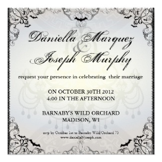 Fancy Gothic Bats Halloween Wedding Invitation
