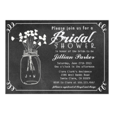 Chalkboard Mason Jar Bridal Shower Invitation