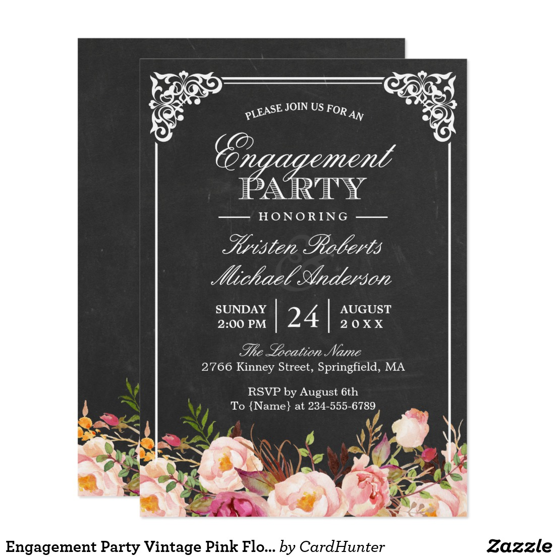 Chalkboard Wedding Engagement Party Invitations
