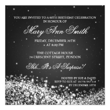 Personalized party invitations announcements party invitations elegant 60th birthday party sparkling wave black personalized invite filmwisefo Choice Image