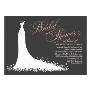 Wedding Gown Bridal Shower Invitations