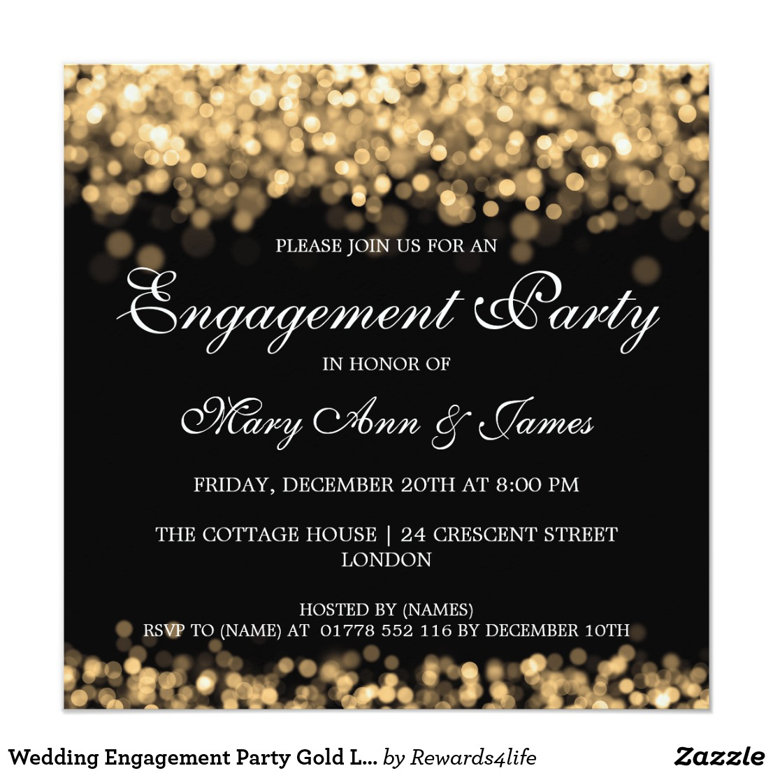 String Lights Engagement Party Invitations