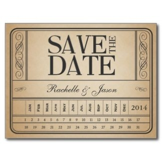 Vintage Ticket Wedding Save The Date Announcements