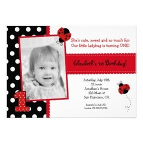 Ladybug Kids Birthday Party Invitations