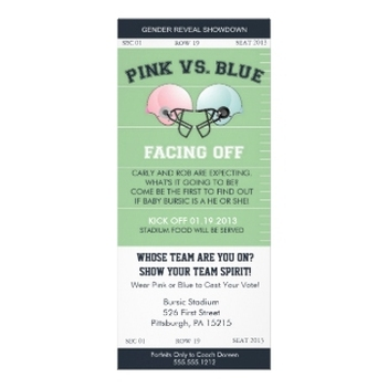 Gender Reveal Football Ticket Baby Shower Personalized Invitation