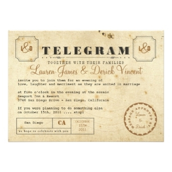 Vintage Telegram Invitation Card