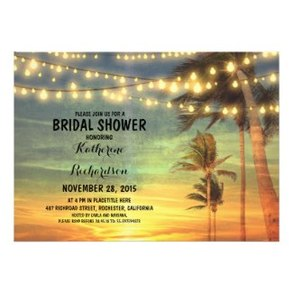 sunset beach bridal shower string lights announcement