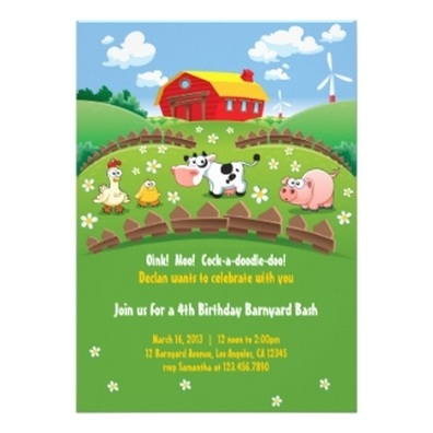 farm Kids Birthday Party Invitations