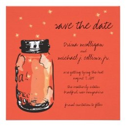 Fireflies & Mason Jar Save the Date Announcements