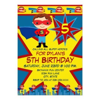Superhero Kids Boys Birthday Party Invitation