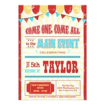 Circus / Carnival Kids Birthday Party Invitations