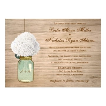 Country Rustic Mason Jar Hydrangea Wedding Custom Invite