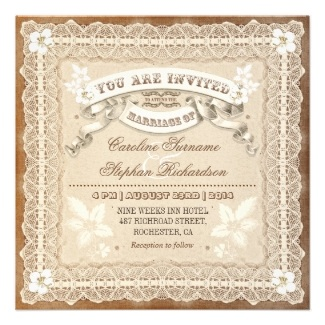Vintage Lace Typographic Wedding Invitations
