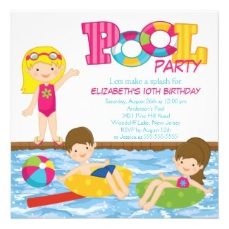 Blonde Girl Birthday Summer Pool Party Invitation