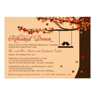 Autumn / Fall Wedding Rehearsal Dinner Invitations