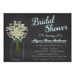 Chalkboard Mason Jar Baby's Breath Bridal Shower Custom Invitations