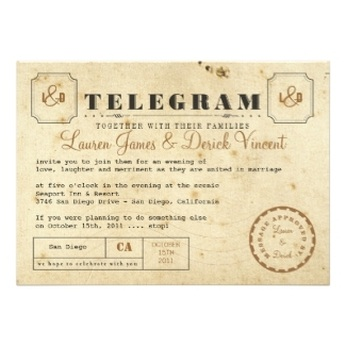 Vintage Telegram / Ticket Style Wedding Invitations