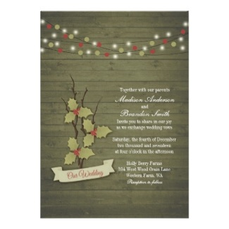 Rustic Winter Wedding Wood Grain Holly and Berries Invitations