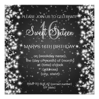 Sparkling Sweet Sixteen Party Invitations