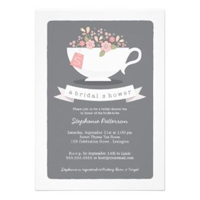 Teacup Pink Floral Bridal Shower Invitation