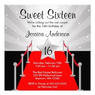Red Carpet Hollywood Movie Themed Sweet Sixteen Party Invites