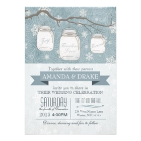 Winter Wedding Rustic Mason Jar and Snowflakes Personalized Invitations