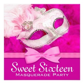 Hot Pink Masquerade Party Invitations by Pure_Elegance