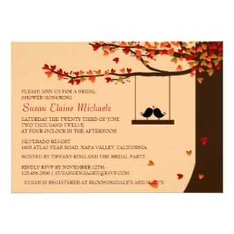 Love Birds Falling Hearts Oak Tree Bridal Shower Personalized Announcements