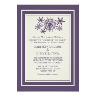 Purple Snowflake Winter Wedding Custom Invite