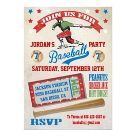 Baseball Kids Birthday Party Invitations