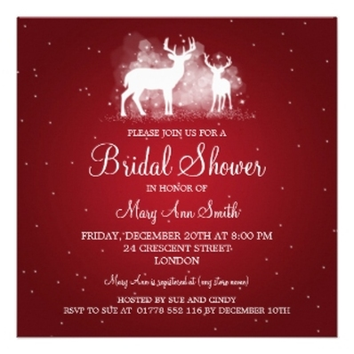 Bridal Shower Winter Deer Sparkle Red invitations