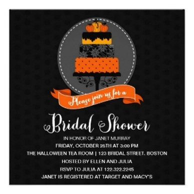 Elegant Halloween Cake Bridal Shower Announcements