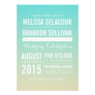 Blue Ombre / Gradient Wedding Invitations