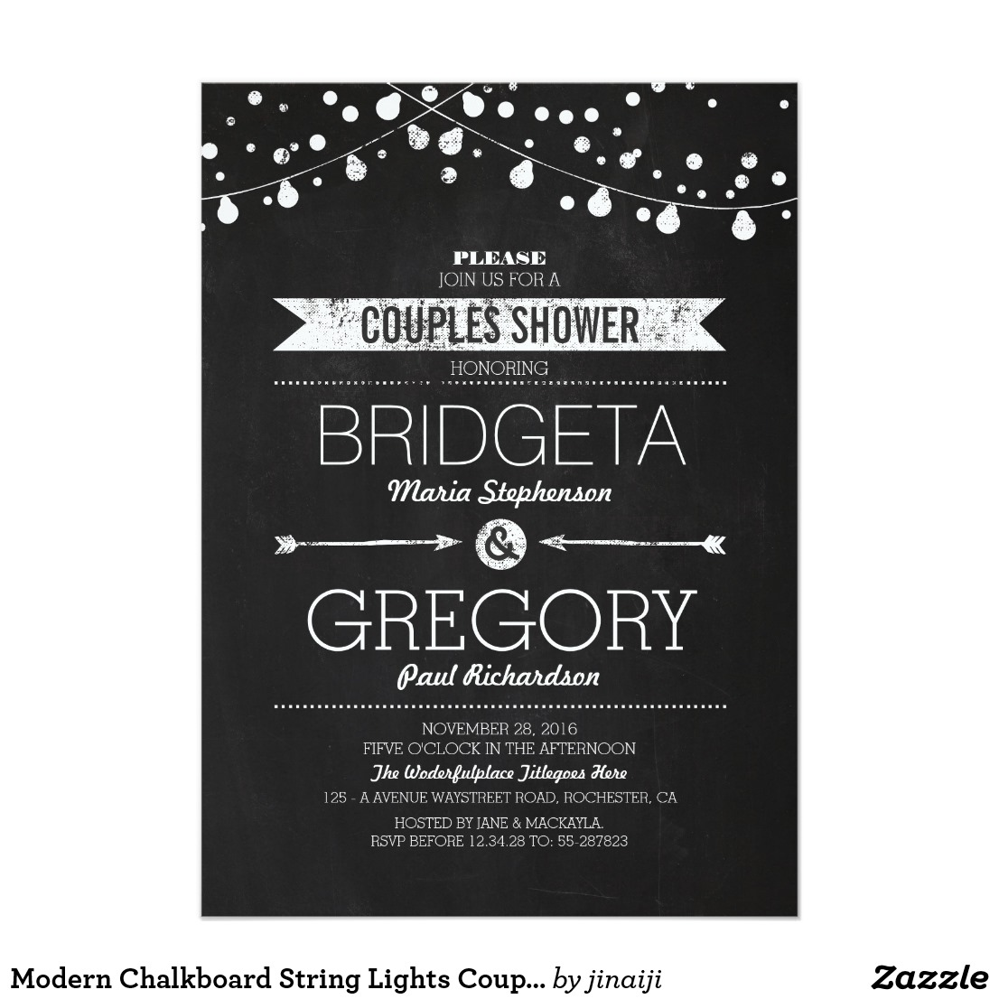 Chalkboard Couple's Shower Invitations