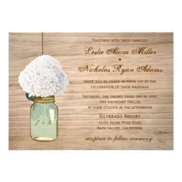 Rustic Mason Jar Wedding Invitations