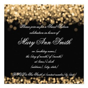 Sweet Sixteen Party Shimmering Gold Lights Personalized Invitation