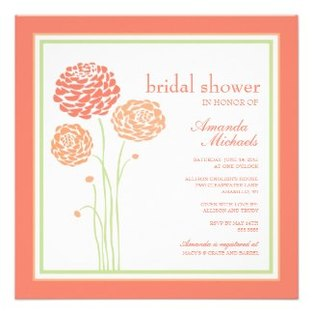 Floral Bridal Shower Invitations Tangerine Lime