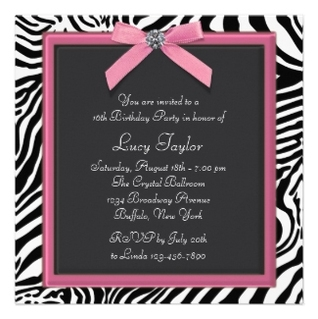 Pink Zebra Sweet 16 Birthday Party Custom Announcements