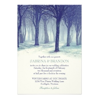 Winter Wedding Tree Landscape Scenic Blue and Aqua Invite