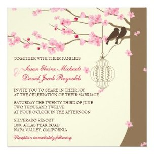 Cherry Blossom Wedding Personalized Announcements