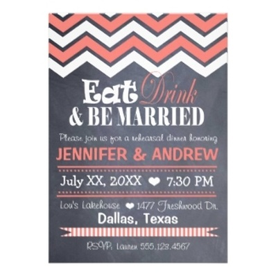 Chalkboard Wedding Rehearsal Invitations