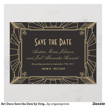 Art Deco Wedding Save The Date Announcements